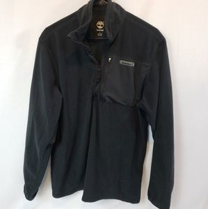 Timberland black fleece 1/4 Zip sz Medium pocket